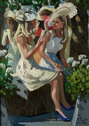 Ascot Belles by Sherree Valentine Daines - Original Painting on Board sized 8x11 inches. Available from Whitewall Galleries